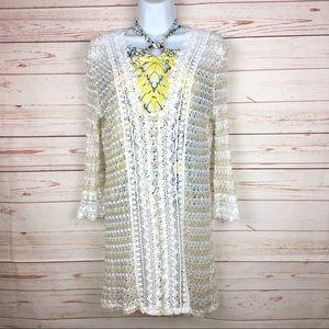 Solitaire Crochet Lace Swim Wear Cover Up Sz M